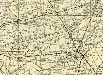 1891 Antique Map CAMBRIDGESHIRE & FENS County HOUSES Farms RAILWAYS Stations etc